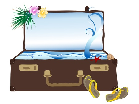 Sea in the retro suitcase Vector