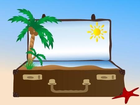 Sea in the retro suitcase Stock Vector - 9567260