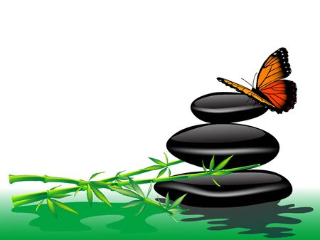 stein schwarz: Orange Schmetterling, Bambus und Spa Steine