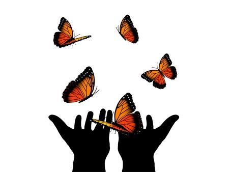 exotic butterflies: Silueta de manos humanas y muchas mariposas naranjas