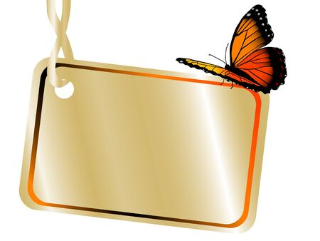 Orange butterfly sitting on the golden name tag