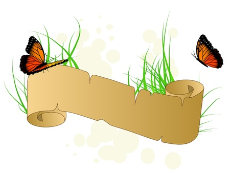 Spring banner with butterflies and grass Stock Vector - 9567272