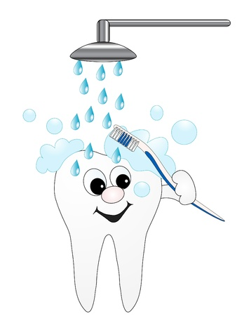 Selfbrushing cartoon tooth take shower Vector