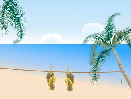 flipflop: Beach scene with palm trees and sandals
