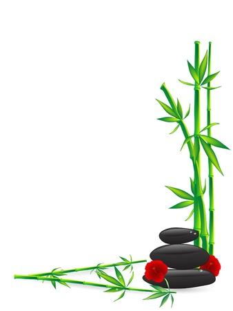 astral body: Piedras de bienestar con bamb� verde Vectores