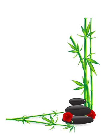 Wellness stones with green bamboo
