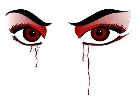 Red vampire eyes on white background Vector