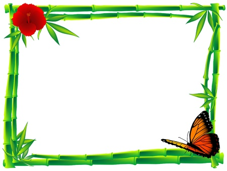 red hibiscus flower: Orange butterfly sitting on the bamboo frame Illustration