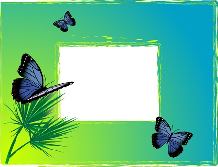 Blue background with two butterflies Stock Vector - 9652091