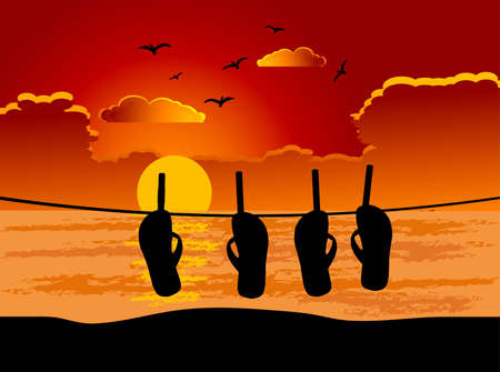 cloudy night sky: Beach sandals on the rope