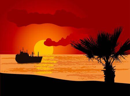 Ship silhouette on sunset sea Vector