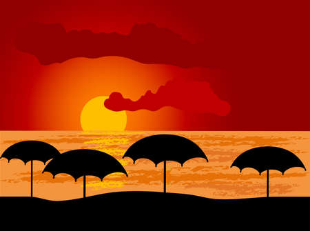 Sun umbrellas on the beach Vector