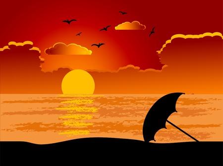 ciel rouge: Parasol sur la plage. Illustration