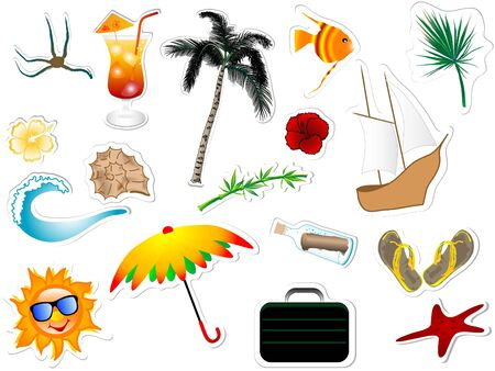 Collection of summer and beach stickers Vector