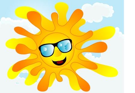red sun: Happy summer sun with sunglasses Illustration