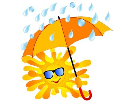 sonnenschirm: Gl�ckliche Sonne mit dem orangefarbenen Schirm