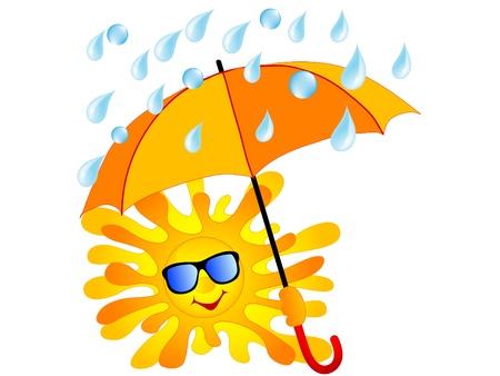 rain background: Happy sun with the orange umbrella Illustration