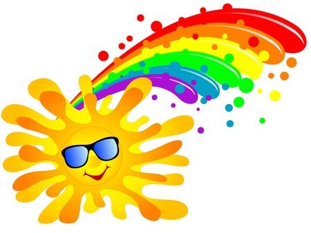 verano: Sol de verano feliz y el arco iris