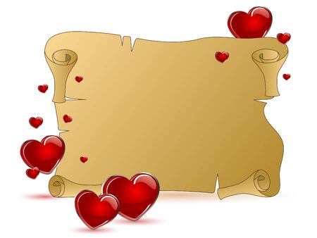 Brown scroll with red hearts Vector