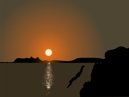 extremesport: Jumping to the sea in the sunset Illustration
