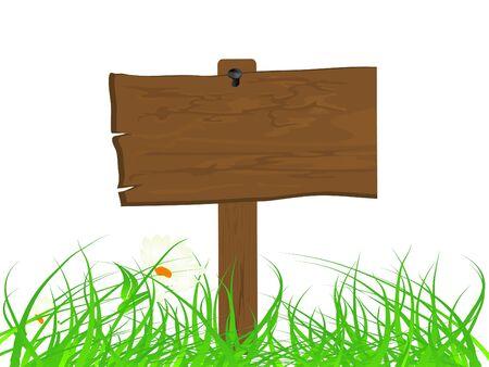 letreros: Letrero de madera en la hierba