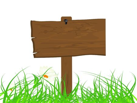 Wooden signboard in the grass Vector