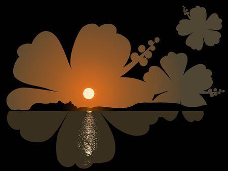 hibisco: Puesta de sol junto al mar en el marco de hibiscus