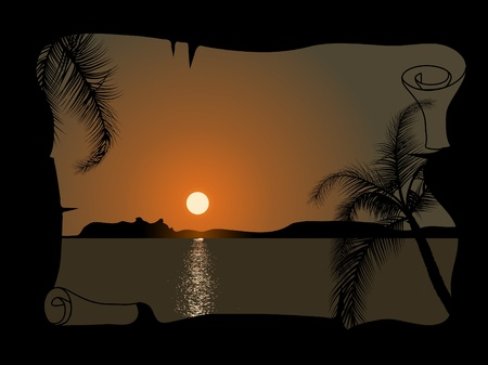 Sunset by the sea in the parchment Vector