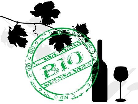 wijnbladeren: Zwart silhouet van wijn stok bladeren, fles en wijn glas