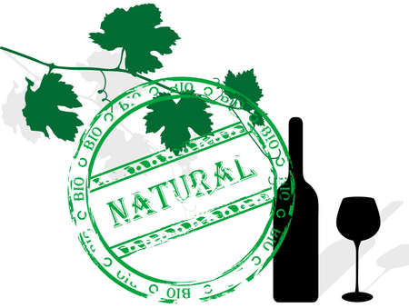 Silhouette of vine leaves, bottle and wineglass Vector