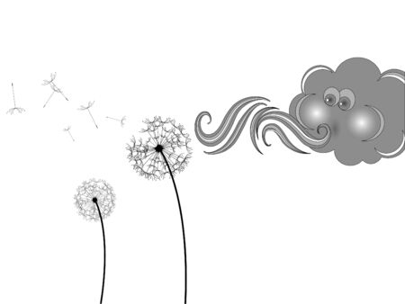 Grey cloud and withered dandelion Vector