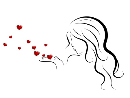Silhouette of beauty woman blowing to red hearts Vector