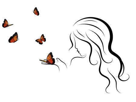 exotic woman: Silhouette of beauty woman blowing to butterflies