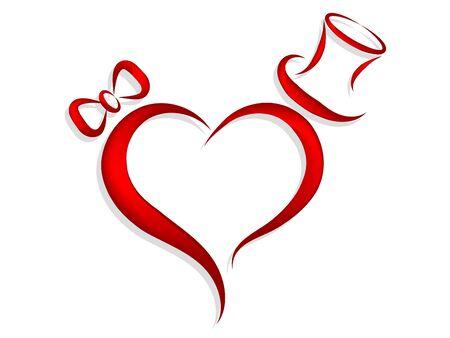 Rood hart met boog een cilinder