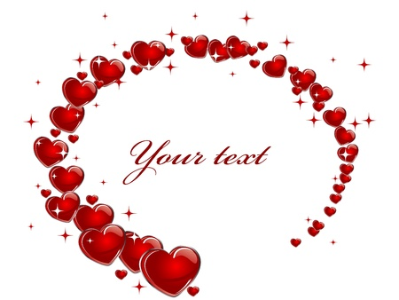 Elipse frame from red hearts Illustration