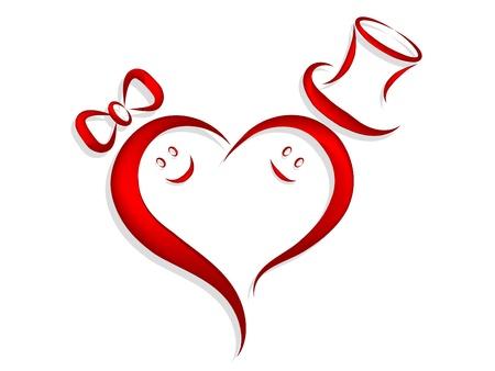 braut und bräutigam: Rotes Herz mit Braut und Br�utigam Gesichtern