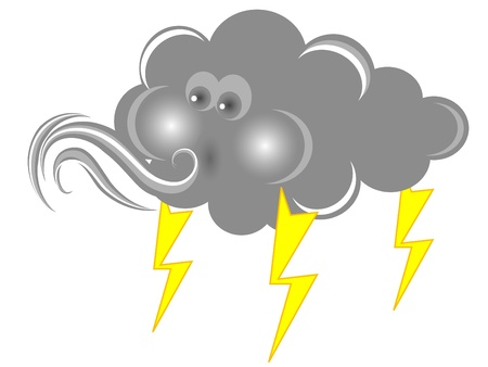 storm rain: Blowing cloud in grey color Illustration