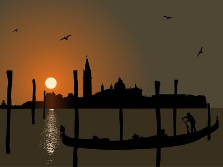 gondolier: Traditional  gondola and venice skyline