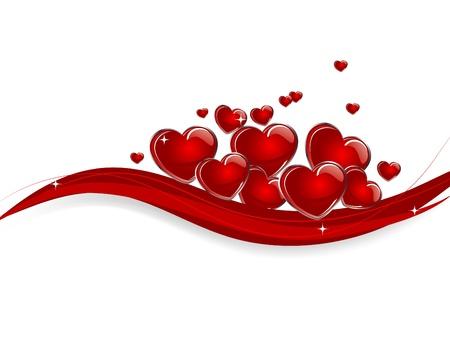 bordure de page: Les coeurs rouges sur fond abstraite