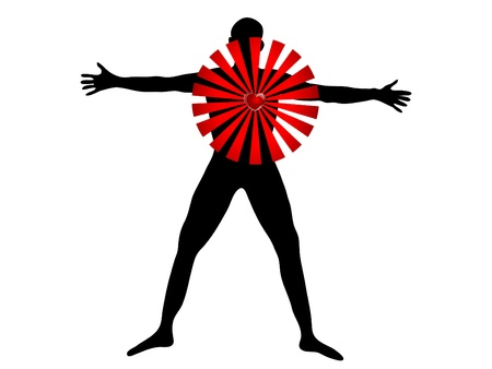 Black silhouette of man and red heart Vector