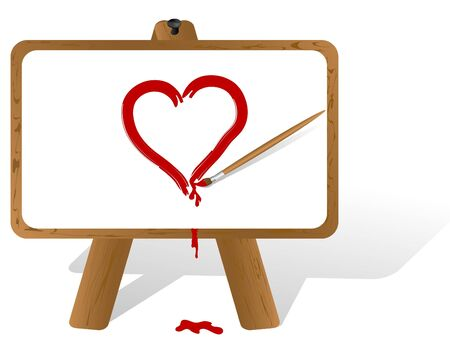 Painter gen canvas and red heart Vector