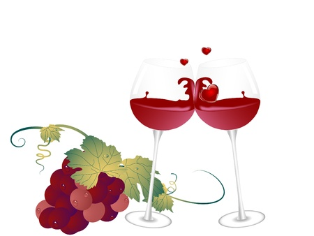 Bunch of grapes and two glasses Vector