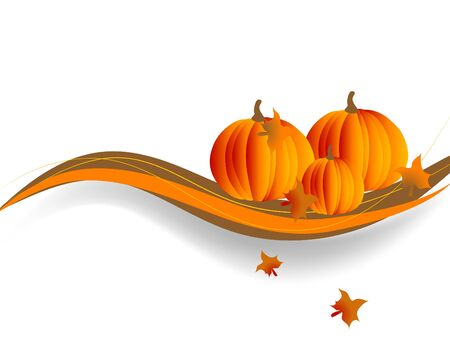 green leaves border: Abstract background with the pumpkins Illustration