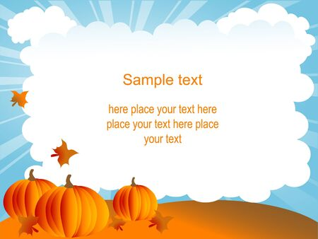 Halloween background with orange pumpkins Vector