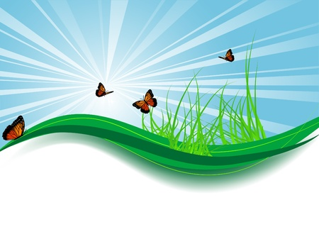 flora fauna: Abstract background with grass and butterflies