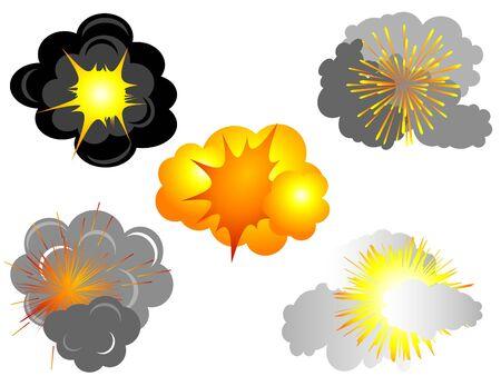 pyrotechnics: Cartoon explosions set