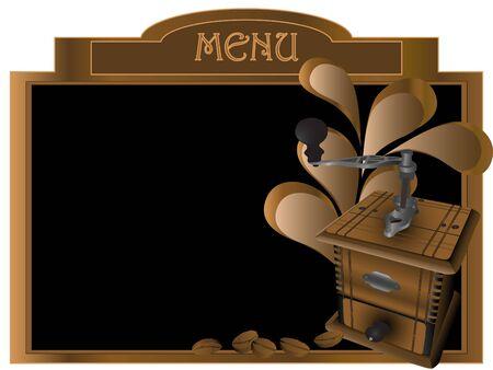 molinillo: Menú de mesa con granos de café, molino y