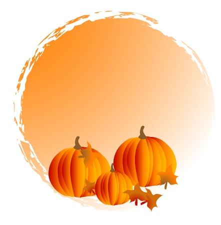autumn leaf frame: Cuadro abstracto con calabazas naranjas