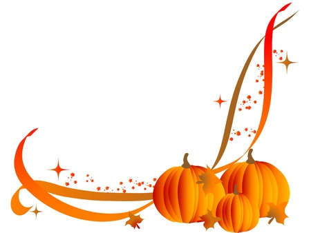 fall harvest: Abstract corner with orange pumpkins Illustration