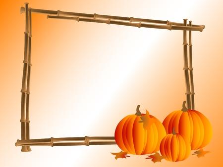 Bamboo frame with orange pumpkins